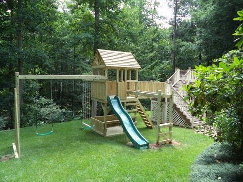 Custom Backyard Play Structures : Backyard Playground  Custom Wooden Swing Sets & Playsets in Raleigh